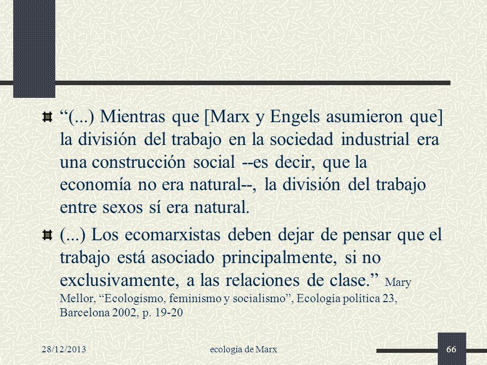 (...) Mientras que [Marx y Engels asumieron que] la división del trabajo en la sociedad industrial era una construcción social --es decir, que la economía no era natural--, la división del trabajo entre sexos sí era natural.